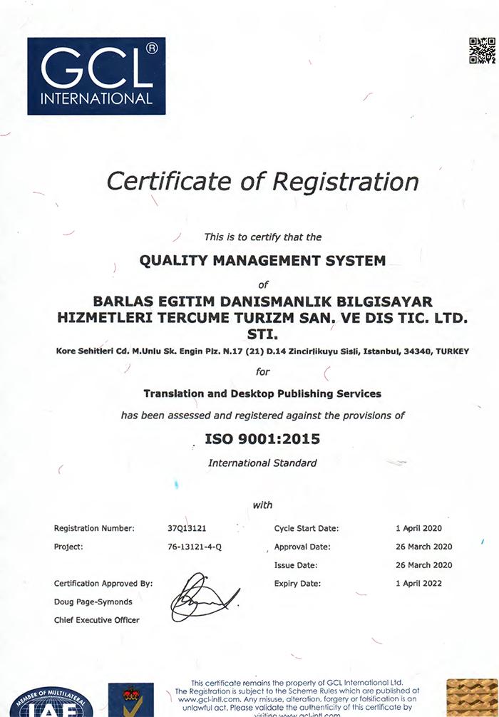 Quality Certificates Turkish Translation Office